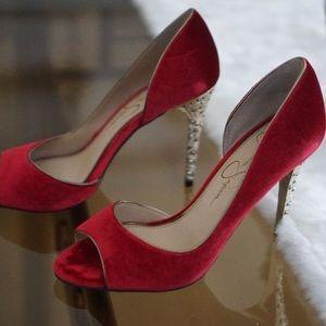Jessica Simpson Red Velvet Shoes